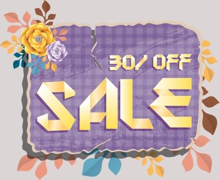 sales banner classical colorful paper cut decor