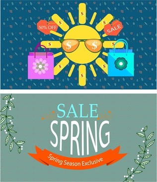 sales banner sets design with seasonal style