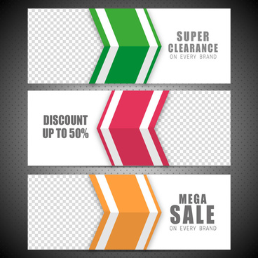 sales banner sets on arrow and check background