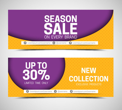 sales banner sets on violet and yellow background