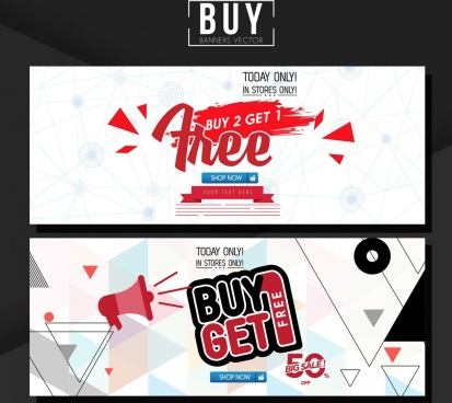 sales banner sets texts geometry grunge decor