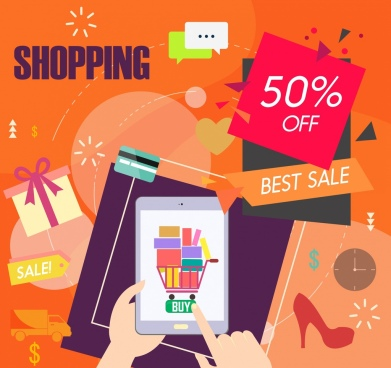 sales banner shopping design elements colored modern design