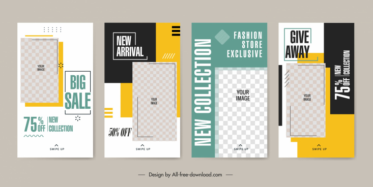 sales banner templates bright modern checkered decor