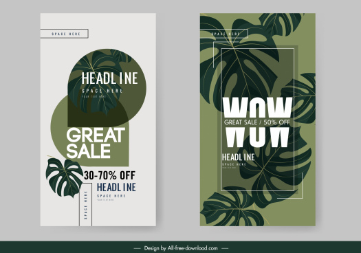 sales banner templates classic dark leaves decor