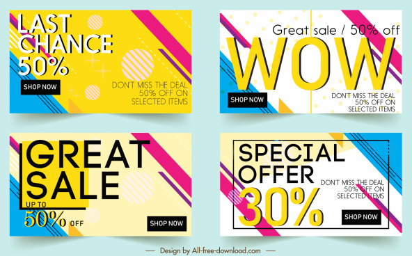 sales banner templates colorful modern flat design
