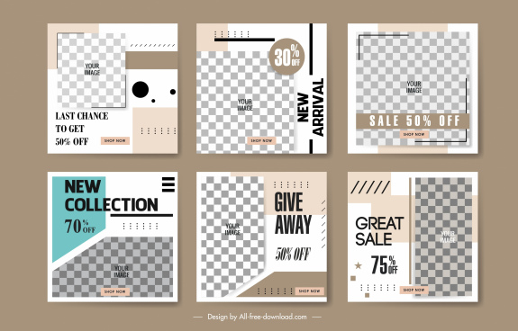 sales banner templates elegant classic checkered decor