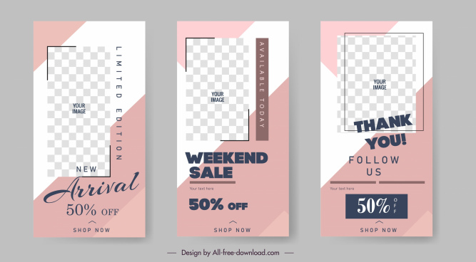sales banner templates flat simple checkered decor