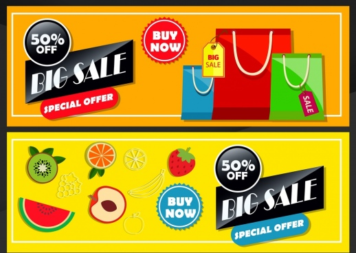 sales banner templates fruit bags icons colorful design