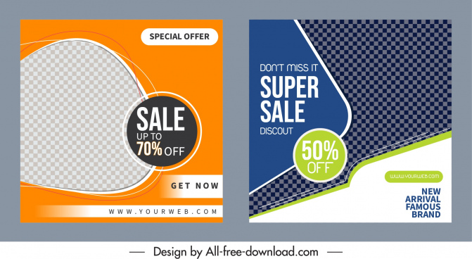 sales banner templates shiny colored modern checkered decor