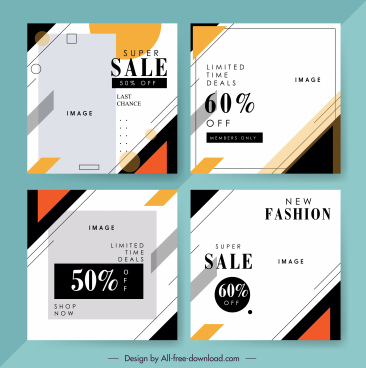 sales banner templates simple flat bright geometric decor