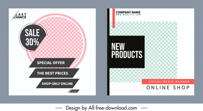 sales banner templates simple flat checkered decor