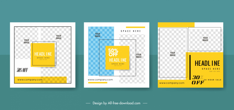 sales banner templates simple flat checkered layout