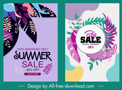 sales banners colorful leaves decor