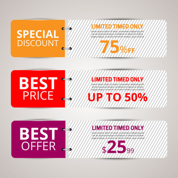 sales banners design sets on open page background