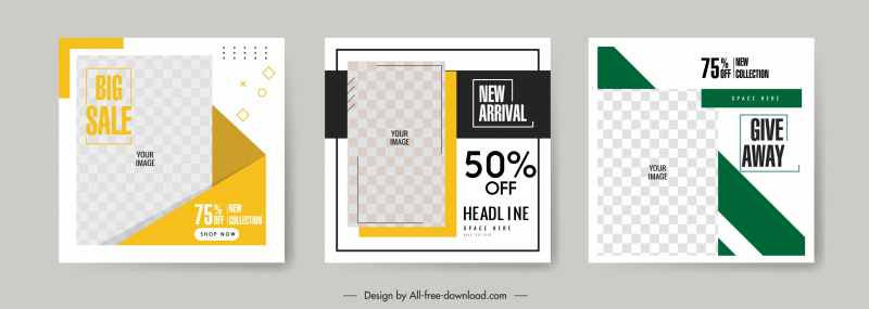 sales banners templates bright checkered decor
