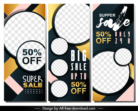 sales banners templates colorful checkered geometric decor