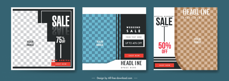 sales banners templates elegant checkered decor