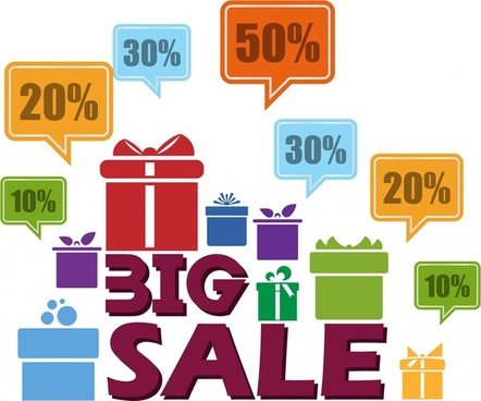 sales design elements illustration with percentage and box