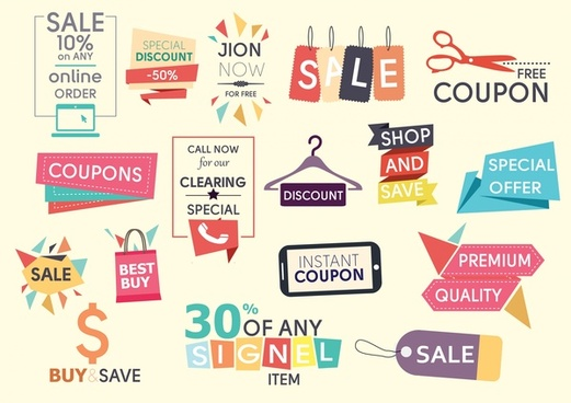 sales design elements illustration with various colored styles