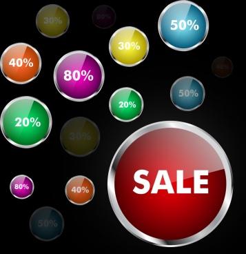 sales design elements shiny round buttons ornament