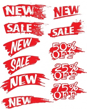 sales sign templates grunge texts design red white ornament