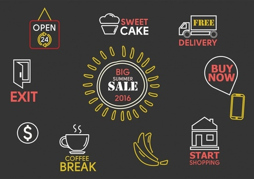 sales icons design elements illustration on dark background