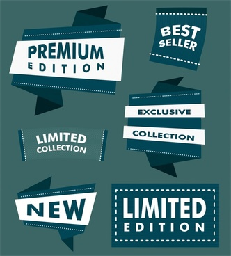 sales labels illustration with blue origami design