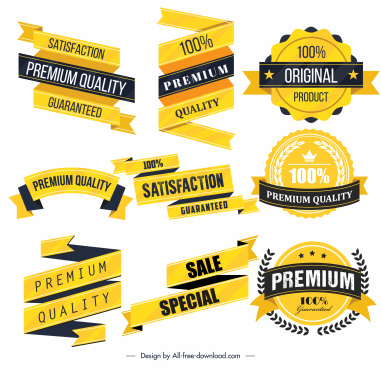 sales labels ribbons templates elegant yellow shapes