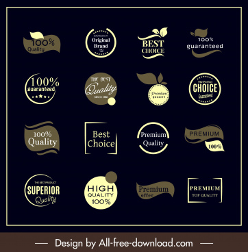 sales labels templates classic dark shapes flat design