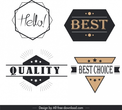sales labels templates flat geometrical shaped sketch