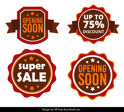 sales labels templates modern bright colored shapes