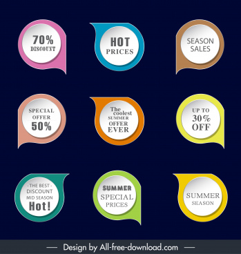sales labels templates waterdrop shapes colorful modern