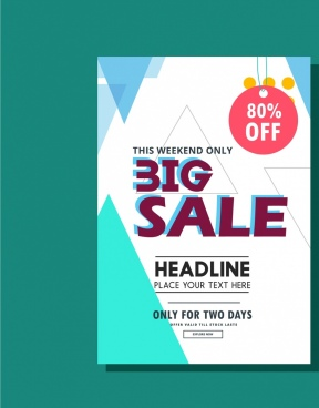 sales leaflet design triangles background modern style