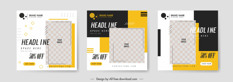 sales leaflet templates flat checkered decor