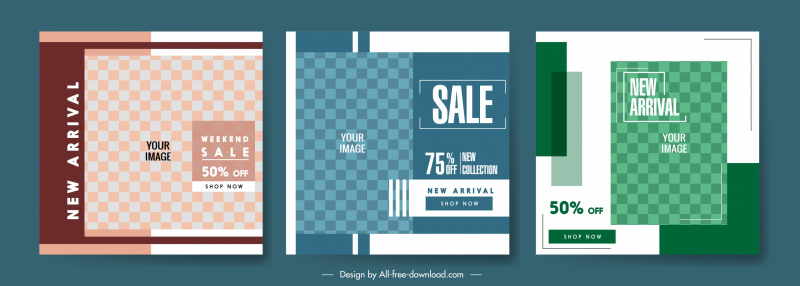 sales poster templates elegant flat checkered decor