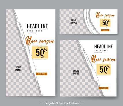 sales poster templates elegant flat checkered grunge decor