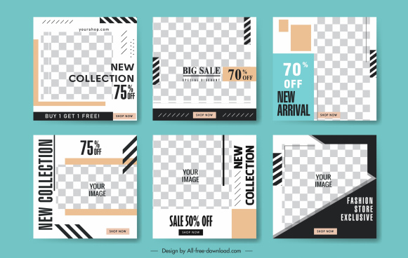 sales poster templates modern elegant checkered decor