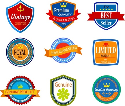 sales promotion badges with retro design style