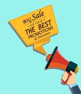 sales promotion banner design with speaker and origami