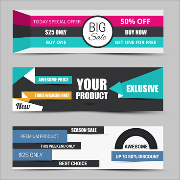 sales promotion banners on modern style background