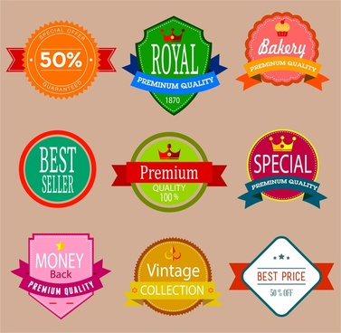 sales quality labels isolated with various colored shapes