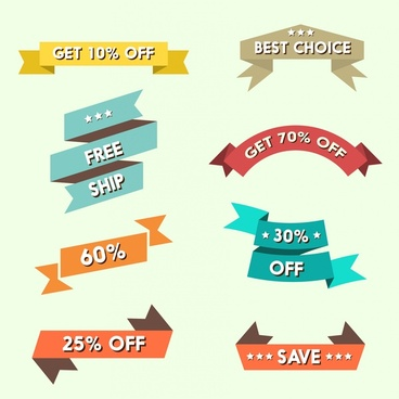 sales ribbons vector illustration with various styles