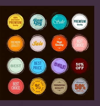 sales stamps collection colorful circle design classical flat