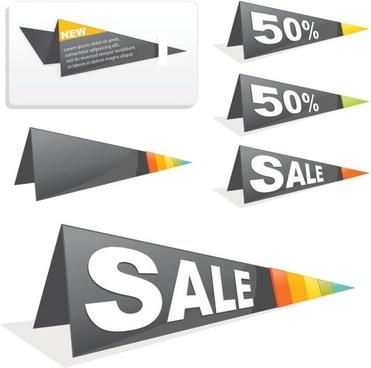 sales tag origami 02 vector