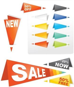 sales tag origami 03 vector