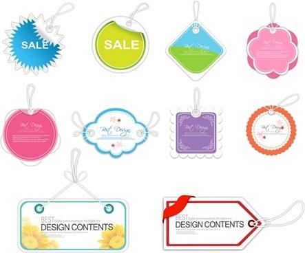 sales tag vector cute label