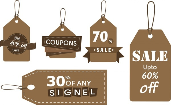 sales tags collection brown design style