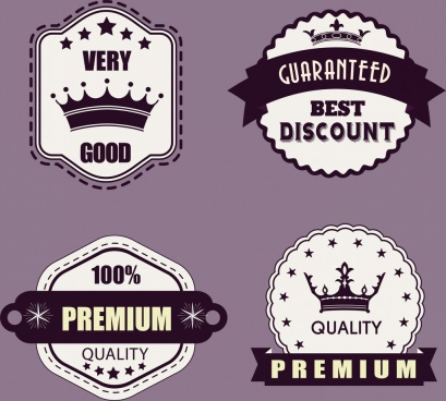 sales tags collection classical ornament black white design
