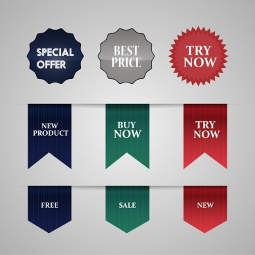 sales tags collection colored serrated circles ribbons design