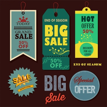 sales tags collection design with various vintage styles